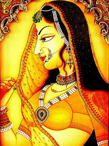Characteristics of Bani thani In the portrait, her long eye is like a fish, the nose and chin are long and sharp, the tall and thin figure carry extra finesse, grace and beauty. Lips are sharp but turns into a gentle smile. Hair is black and long till her waist, and has soft curls on her cheek. She permanently holds two long stemmed lotus flowers in her left hand and a transparent veil in the right hand. She is heavily decorated with jewels from top to toe.