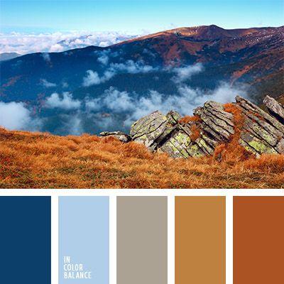 azul oscuro, azul oscuro y marrón, color hierba quemada, color marrón dorado, color montaña, gris y azul oscuro, marrón rojizo, matices del marrón rojizo, paleta de colores de otoño, paleta de colores para otoño, selección de colores, tonos marrones.