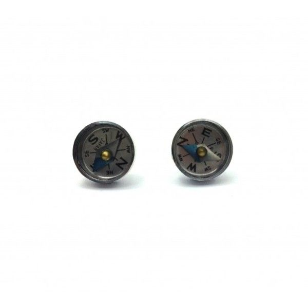Vintage Compass Stud Earrings ($19) ❤ liked on Polyvore featuring jewelry, earrings, surgical steel stud earrings, surgical steel jewelry, surgical steel earrings, vintage stud earrings and vintage earrings