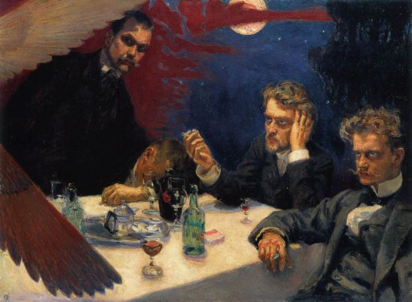 """Symposion"" (1894) by Akseli Gallen-Kallela (man on the right is Jean Sibelius, man beside him is Albert Edelfelt, a man standing is Pekka Halonen)"