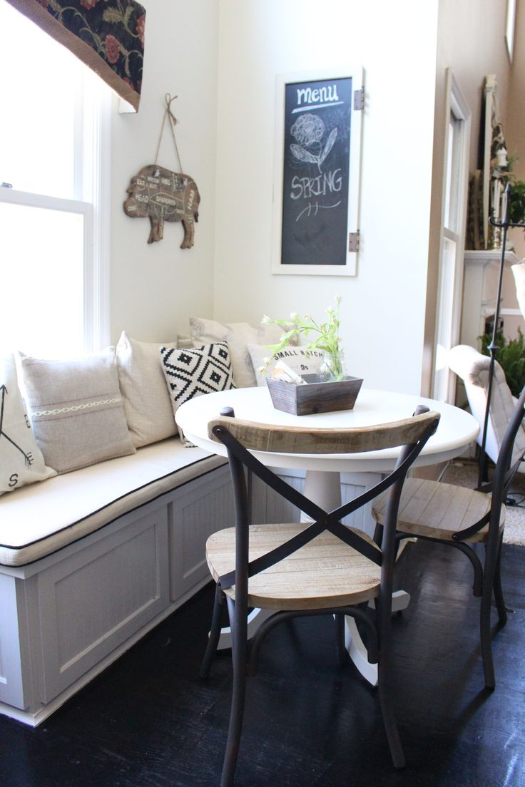Are you working with limited room, but want bold design in your kitchen? Opt for a space saving window seat and bistro table. Decorate with mismatched accent pillows for even more eye-catching style.
