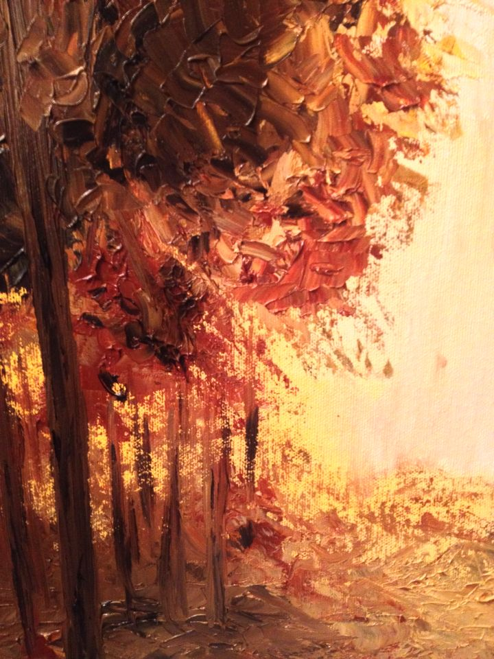 Detail from original oil on canvas Magic Light of the Autumn. See more on www.nellaalaoartsdecor.com