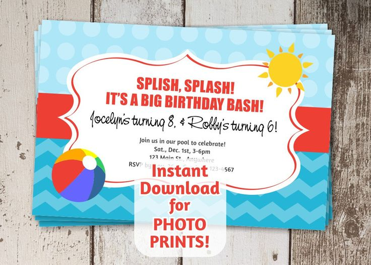 Pool Party Invitation for Birthday - Instant digital file download - Use invite to order photo prints or print on card stock - beach by InstantInvitation on Etsy https://www.etsy.com/listing/233759839/pool-party-invitation-for-birthday