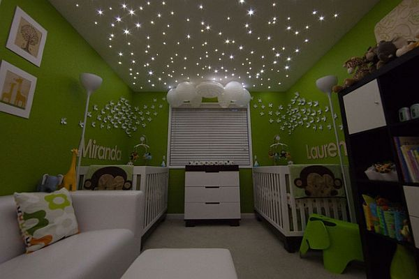 Pretty cool nursery: Color Nurseries, Green Baby, Green Wall, Starry Night, Stars Lighting, Ceilings, Baby Rooms, Twin Rooms, Kids Rooms