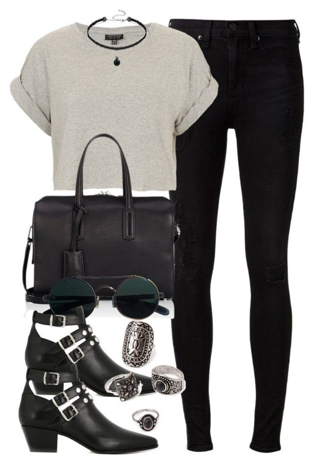 """""""Style #10783"""" by vany-alvarado ❤ liked on Polyvore featuring rag & bone, Topshop, Byredo, Yves Saint Laurent and Forever 21"""