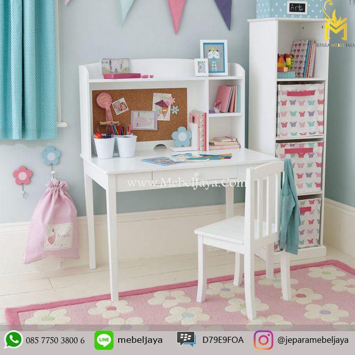 Jual Meja Belajar Anak Perempuan Dengan Rak Lemari - meja belajar anak perempuan didesain secara menarik, menawan dengan rak dan lemari laci serbaguna.