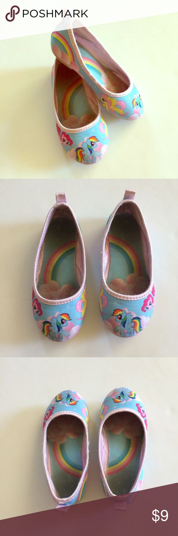 My Little Pony Flats My little loves these shoes! Lots of wear but still in good condition. No holes or huge flaws. Just the wear pictured in photos! Price reflects wear. H&M Shoes