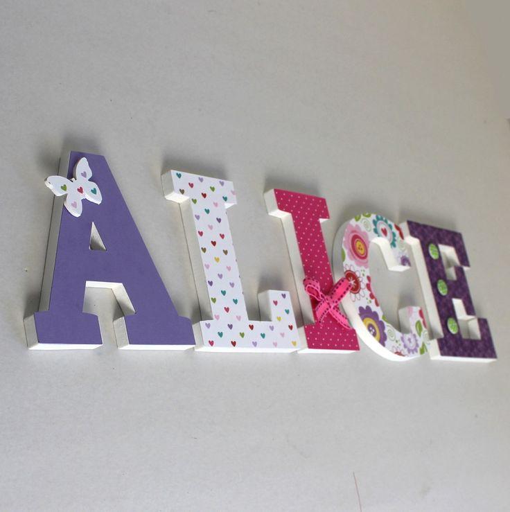 prénom ALICE en bois rose, mauve, violet , papillon : naissance, baptême, anniversaire : Autres bébé par mylittledecor