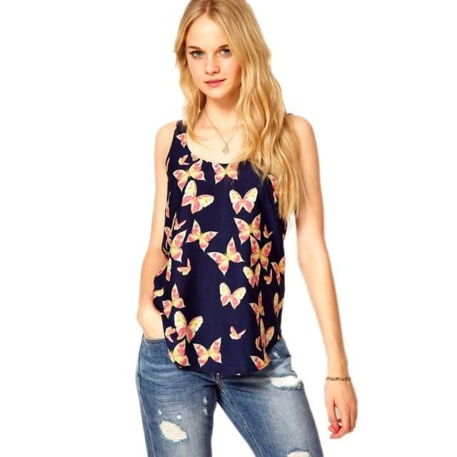 Arrive Summer Women Tanks Tops Butterfly Print Chiffon Blouse Sleeveless Top Shirt Tank Tops Plus Size M 2