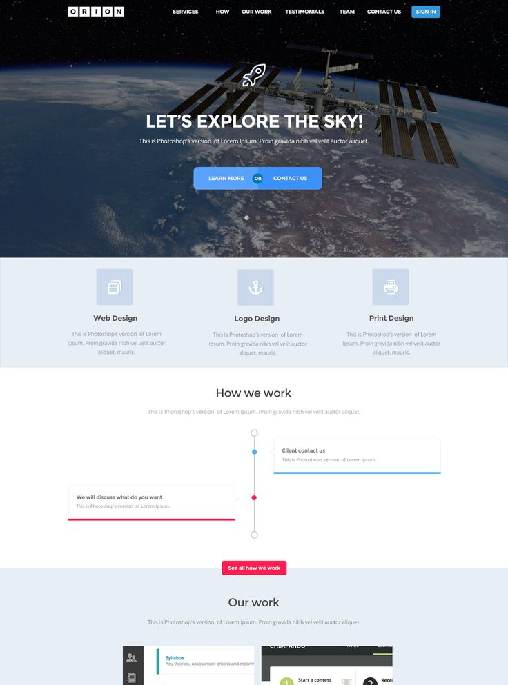 Orion - Free PSD Template, #Flat, #Free, #Layout, #PSD, #Resource, #Single_Page, #Template, #Web #Design