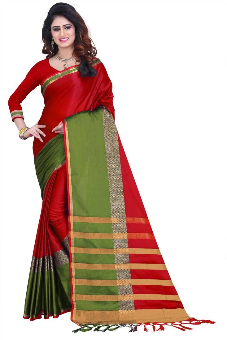 3cb6bca2f Red printed art silk saree with blouse