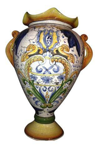 Hand Painted Blue and Yellow Vase on Chairish.com