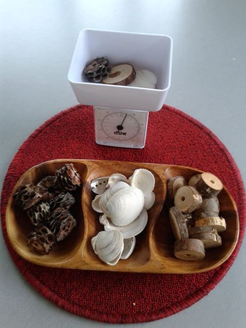 Invitation to weight natural items at Tu Tamariki - Play Based Learning ≈≈