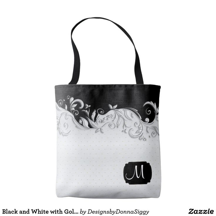 Black and White with Gold Dots Tote Bag