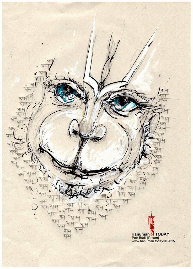 Saturday, June 6, 2015 Daily drawings of Hanuman / Hanuman TODAY / Connecting with Hanuman through art / Artwork by Petr Budil [Pritam] www.hanuman.today