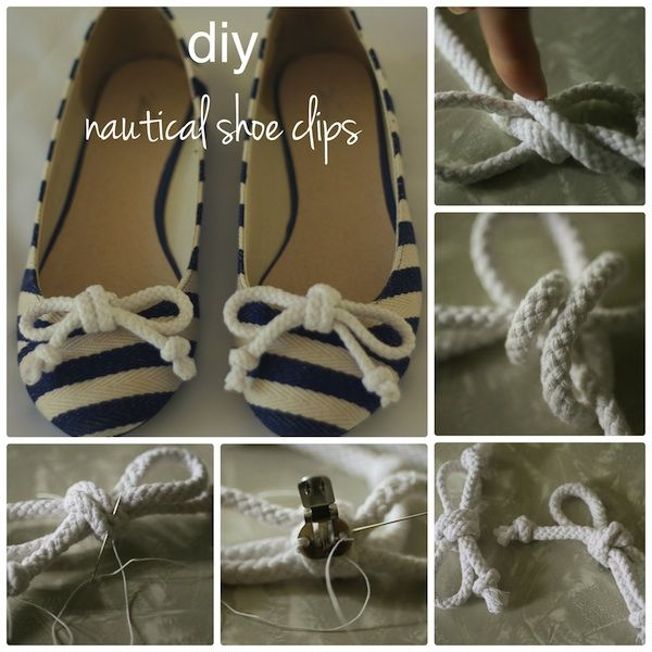 Diy nautical shoe clips #diy #craft #crafting