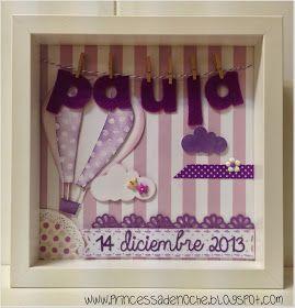 PrincessaDeNoche: Cuadros con nombre en fieltro para decorar habitacion del bebe