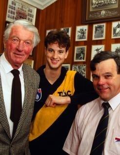 Three generations of Richmond Football Club players. Frank Sr, David and Francis Bourke circa 1999
