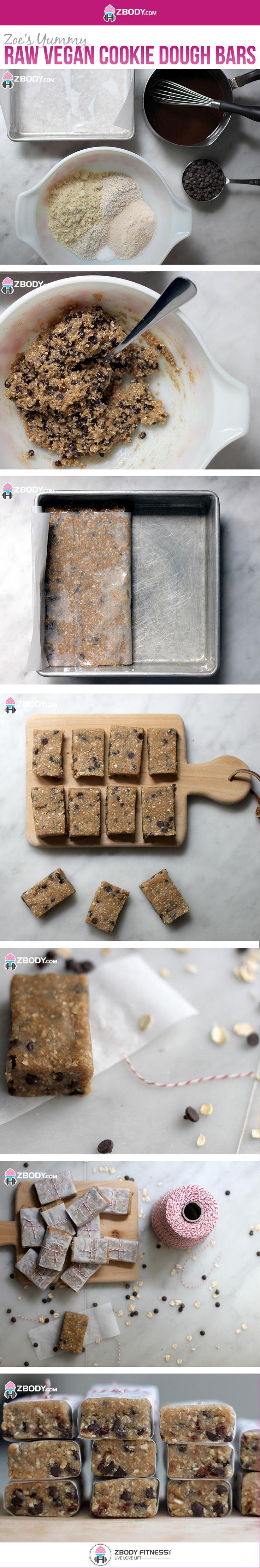 Zoe's Raw Vegan Cookie Dough Bars #Vegan #CookieDoughBars #HealthyRecipes #ZbodyFitness