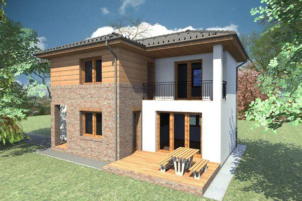 Kétszintes nagycsaládos otthon nappali + 4 nagy szobával. Ezt a házat csak átlagon felüli szélességű telekre lehet felépíteni (minimum: 20 méter), mivel körben ablakok vannak ezért szabadonálló beé…