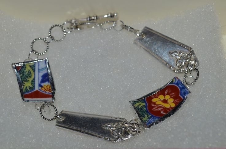 "Recycled Broken Asian China and Silver-plated Flatware Bracelet Floral 8 1/2"" #Unknown #Floral"