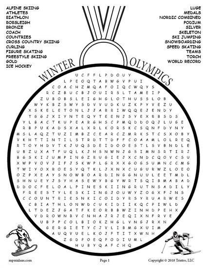 FREE Printable Winter Olympics Word Search! There are 25 words included in this Winter Olympics Word Search. Get the free word search here --> https://www.mpmschoolsupplies.com/ideas/7892/free-printable-winter-olympics-word-search/
