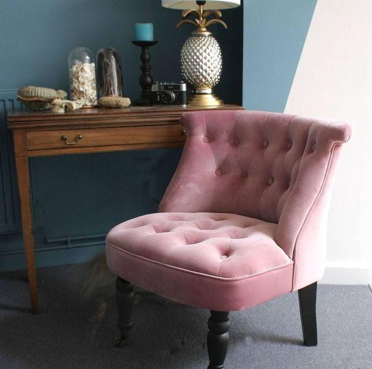 Dusky Pink Velvet Button Back Bedroom Chair