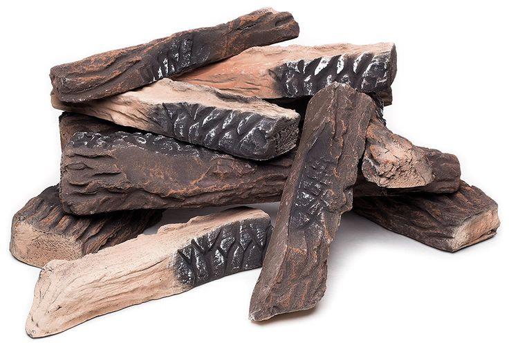 10 Piece Ceramic Fiber Propane Gel Ethanol or Gas Fireplace Log Set