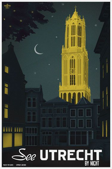 Travelposter of the city of Utrecht, the Netherlands - Night -