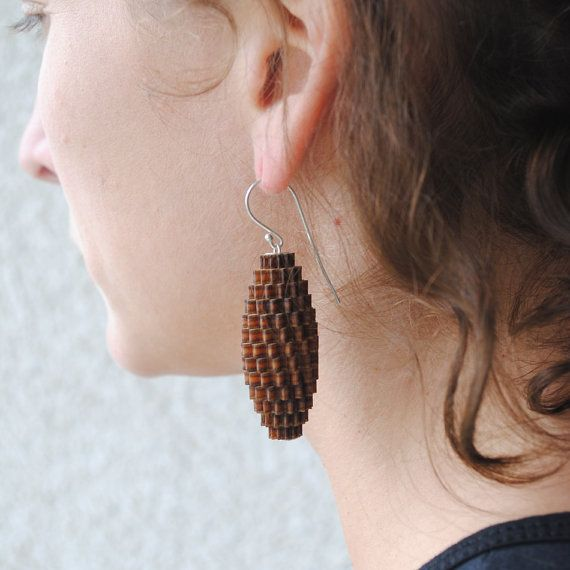 Plywood earring.
