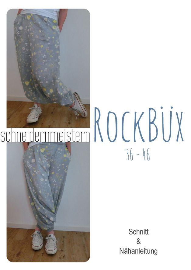 Die Rockbüx, ist eine lange sarouelähnliche Pumphose – jedoch nicht nur mit dem vertieften Schritt, zwischen den Beinen knielang, sondern dort auch bis zu den Knöcheln verlängert. Supergemütlich,...