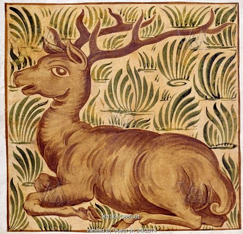 Stag tile design, by William De Morgan (1839-1917). Watercolour. England, 19th century.