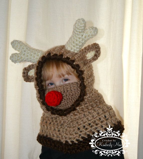Reindeer Hooded Cowl by CrochetbyKimberlyMae on Etsy