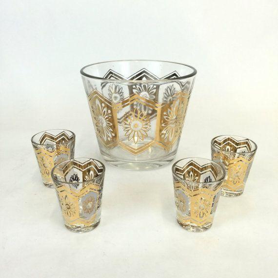 Shot Glasses and Ice Bucket Set, Vintage Bar Set, Mid Century Barware, Gold Barware, Retro Shot Glasses, Hollywood Regency Drinkware