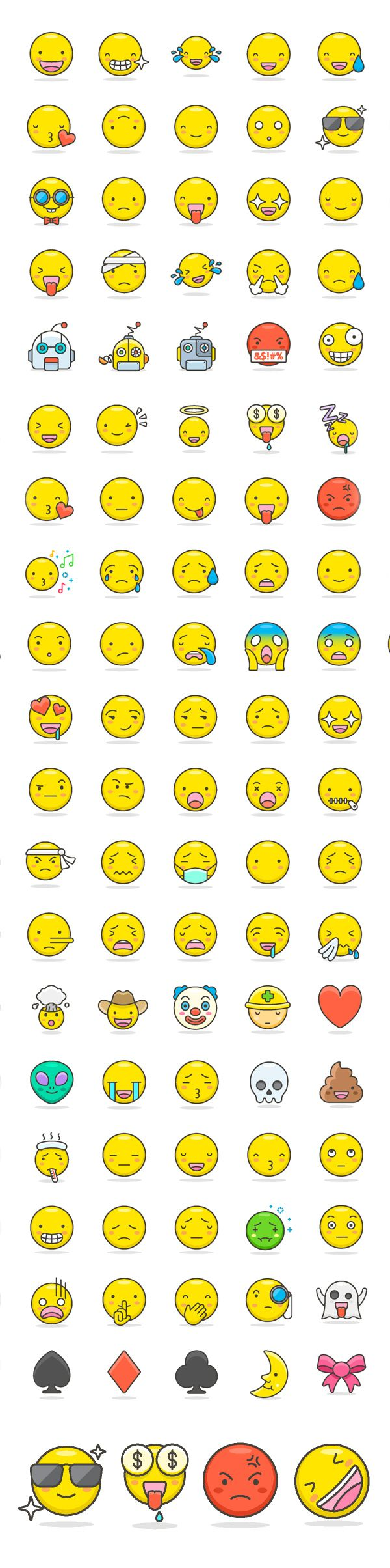 Free Cute Emoji Icons Set (100 Icons) #emoji #funny #romantic #cute #freebie #freeicons #psdicons #svg #vectoricons #outlineicons