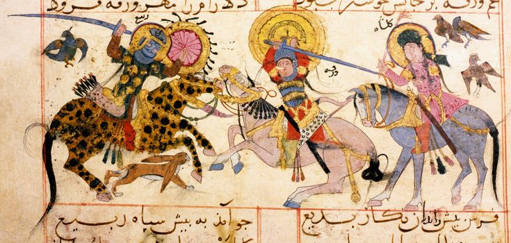Varqa wa-Gulsha, 13th c. Topkapi Library, Hazine 841, F.20/20a Gulshah (right) disguised as a man, watches as her lover Varqa (centre) and his rival Rabi fight on horseback.
