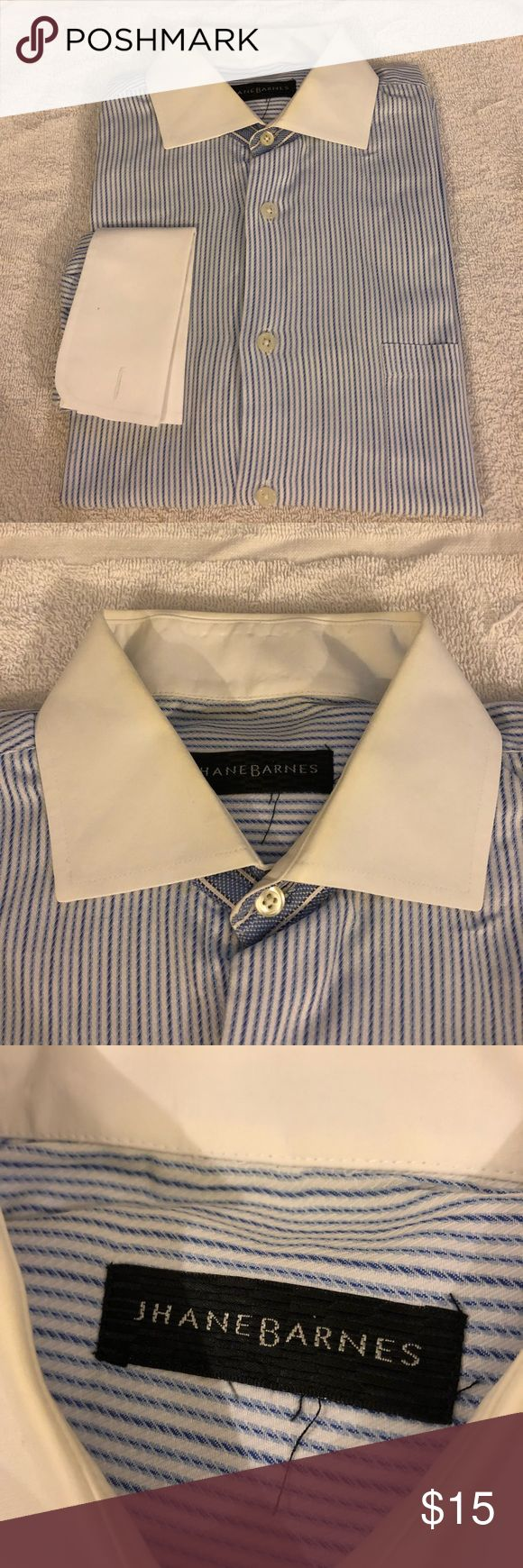 Jhane Barnes White Stripe French Cuff Shirt 16 Jhane Barnes White with Blue Stripe White Collar French Cuff Dress Shirt size 16 34/35! Great condition!  Please make reasonable offers and bundle! Ask questions :) Jhane Barnes Shirts Dress Shirts