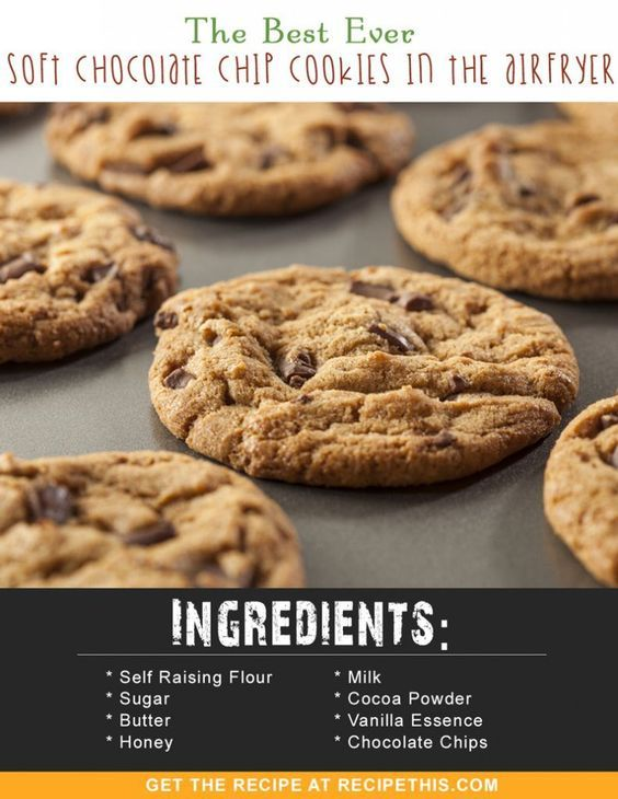 Airfryer Recipes | The Best Ever Soft Chocolate Chip Cookies In The Airfryer recipe from RecipeThis.com