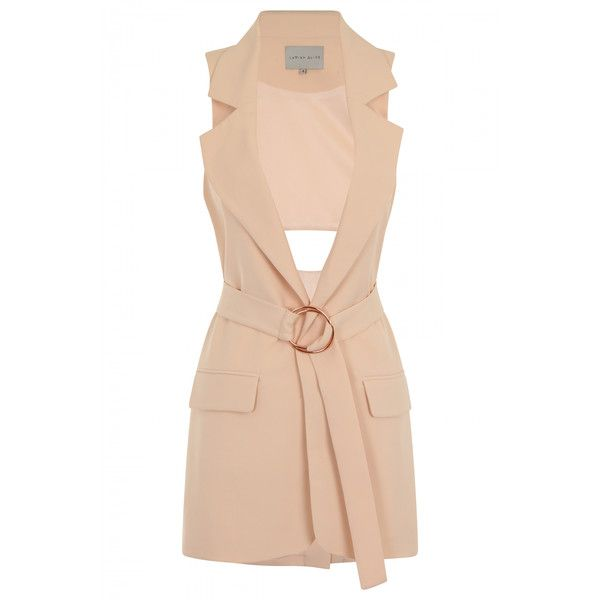 Nude Open Back Oversized D-ring Belt Sleeveless Trench Coat (£31) ❤ liked on Polyvore featuring outerwear, coats, oversized trench coat, pink trench coat, oversized coat, trench coat and sleeveless coat