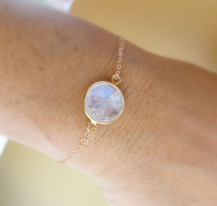 ON SALE Moonstone bracelet, bezel set gold fill moonstone jewelry, blue flash, blue fire, adjustable skinny bracelet. $29.75, via Etsy. www.bionto.com