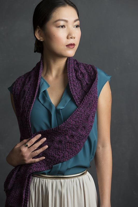 Adelaide by Jennifer Wood.  Knitted scarf.  Refined Knits (ebook) by Jennifer Wood.  Saved to Evernote/ iBooks.  10ply 162m/100g x 3.5
