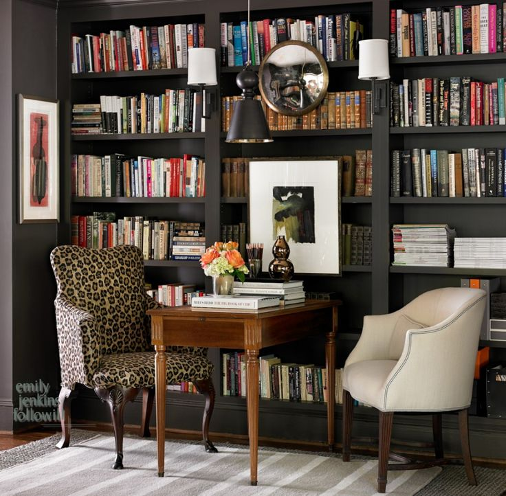 black built-in bookcases, study nook, office, library