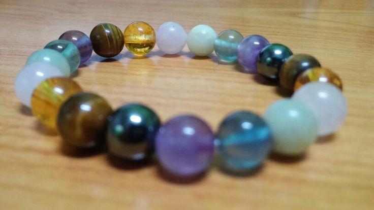 The chackra stone...real stone from earth Amethys, fluorite, amazonite, rose quartz, citrine, tiger eye, hematite...