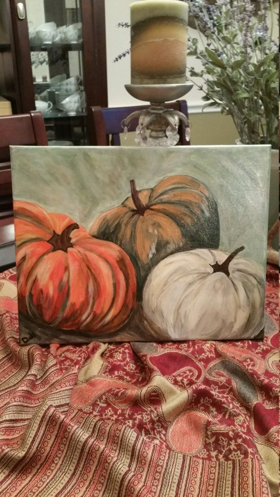 Pumpkins 10x12 painted on stretched canvas and ready to frame or hang as is. Finished with varnish for protection.