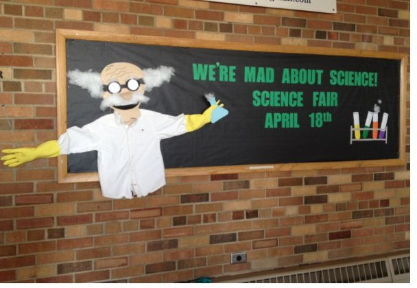 Bulletin board for elementary school science fair.