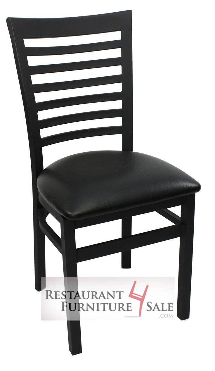 GLADIATOR Commercial Full Ladderback Restaurant Chair w/ Black Vinyl Seat