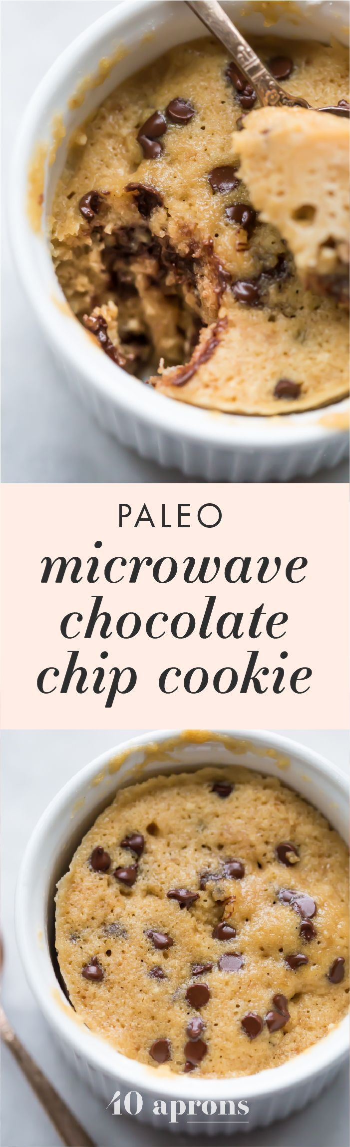 This paleo microwave cookie with chocolate chips is a perfect paleo microwave dessert! It only takes a few minutes & a couple dishes to make this treat.
