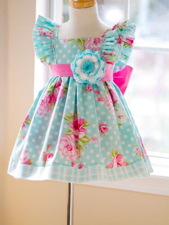 IMG_6884 Baby, Toddler, Girls Aqua Polka Dot Dress Vintage at kinderkoutureclothing.com
