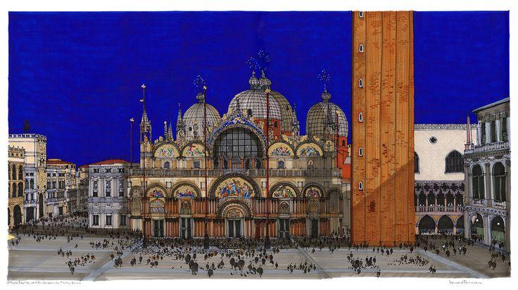 St Mark's Square and Basilica, Venice. #Venice #St Mark's #Architecture #Art #Drawing