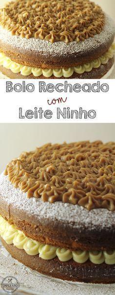 BOLO RECHEADO COM LEITE NINHO -- Receita de bolo recheado com leite ninho e cobertura de doce de leite. Simplesmente delicioso. Doce na medida certa, delicado, fofinho e muito saboroso | temperando.com #leiteninho #bolorecheado #receita
